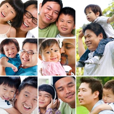 Collage Foto vatertag Konzept Diversity Generationen der Familie, die Spaß an Outdoor-Park und leben Lifestyle zu Hause Alle Fotos gehören mir Standard-Bild - 20388749