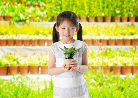 asian gardening: Concept of little girl holding a plant on white background