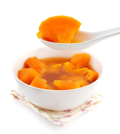 potato soup: Bowl of sweet potato soup. Asian style dessert soup. Cooked with brown rock candy and ginger.