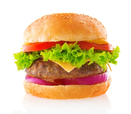 Beef burger isolated white background Stock Photo