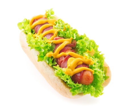 Bacon sausage hot dog isolated white Stock Photo - 19282971