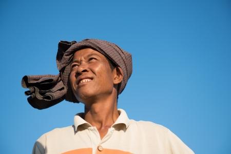 villager: Portrait of Asian traditional farmer, Bagan, Myanmar