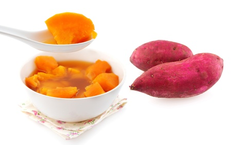 potato soup: Sweet potato soup and sweet potatoes. Asian style dessert soup. Cooked with brown rock candy and ginger. Stock Photo