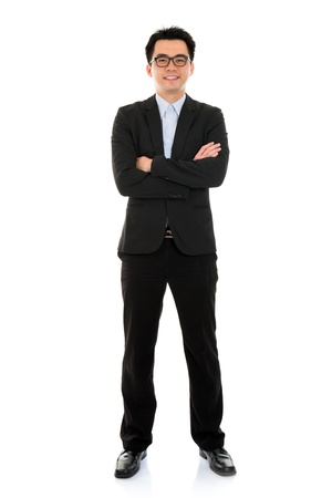 whole body: Young Asian business man full body isolated on white background