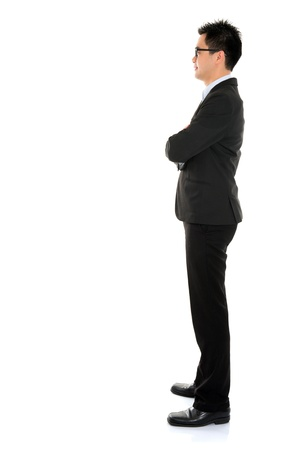 side by side: Young Asian business man full body side view isolated on white background