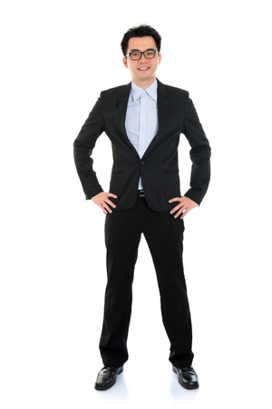 white body suit: Full body portrait of happy smiling Asian business man, isolated on white background