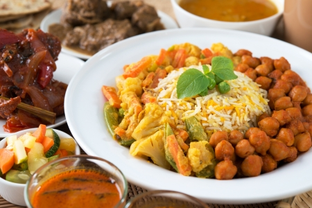 indian meal: Indian meal biryani rice and curry. Stock Photo