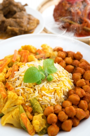 Biryani rice or briyani rice, fresh cooked with steam, delicious indian meal. photo