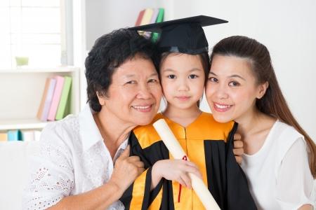 academic achievement: grandparent, parent and grandchild on her kindergarten graduate day.