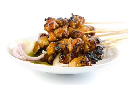 Chicken satay. Traditional Malay food, ramadan dish. Malaysian cuisine. photo