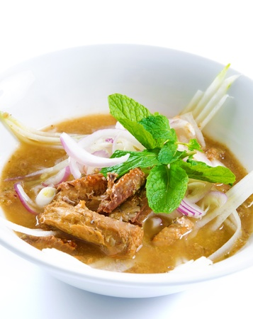 laksa: Assam or asam laksa  is a sour, fish-based soup. Traditional Malay dish, malaysian food, Asian cuisine.