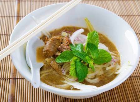 Assam or asam laksa.  Delicious traditional Malay dish, malaysian food, Asian cuisine. photo