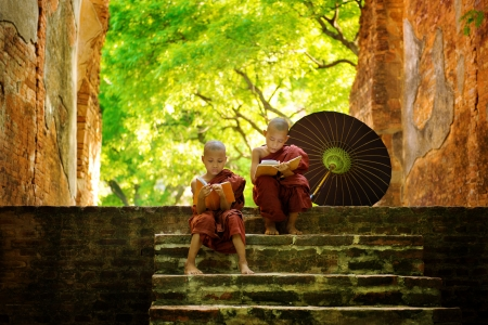 myanmar: Young Buddhist monk reading outdoors, sitting outside monastery, Myanmar. Stock Photo