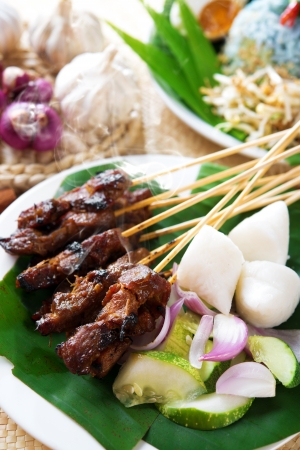 Satay or sate, skewered and grilled meat, served with peanut sauce, cucumber and ketupat. Traditional Malaysian food. Hot and spicy Malay dish, Asian cuisine. photo
