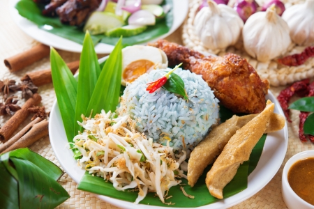 malaysia culture: Nasi kerabu or nasi ulam, popular Malaysian Malay rice dish. Blue color of rice resulting from the petals of butterfly-pea flowers. Traditional Malaysia food, Asian cuisine. Stock Photo