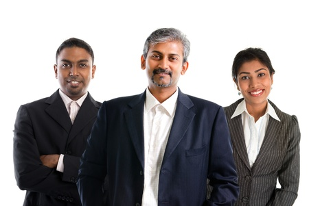 Asian Indian businessmen and businesswoman in group isolated on white