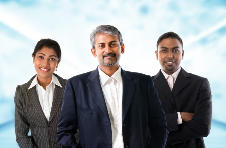 Asian Indian businessmen and businesswoman in group photo