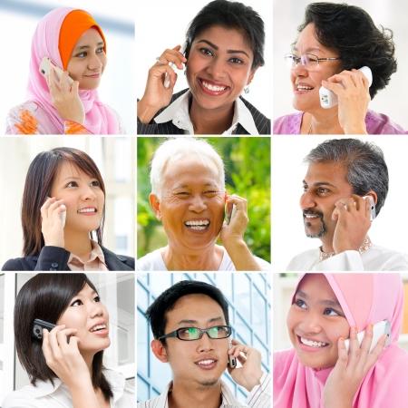 전화 얘기하는 사람들은, 콜라주는 다양한 인종의 9 개의 사진으로 만든