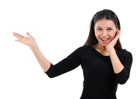 Surprises Asian woman hand open palm showing blank space photo