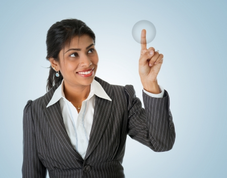 access point: Indian businesswoman finger touching virtual transparent screen button