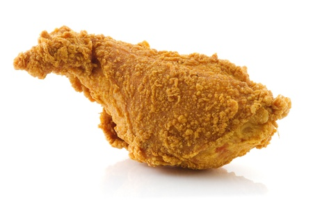 Deep Fried chicken drumstick isolated on white background. Stock Photo