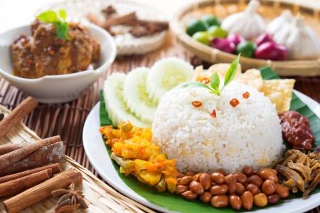 ナシゴレン lemak、マレーシア料理の人気のある料理チキン ルンダン添え。