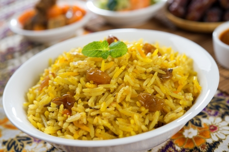 middle eastern food: Arabic rice, Ramadan food in middle east usually served with tandoor lamb. Middle eastern food.