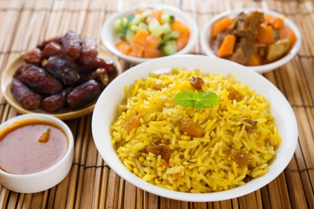 middle eastern food: Arab rice, Ramadan food in middle east usually served with tandoor lamb. Middle eastern food.