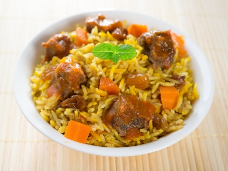 asian foods: Arab food. Mutton With Rice. Middle eastern cuisine.