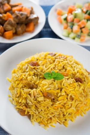 comida arabe: Arroz árabe, comida del Medio Oriente.