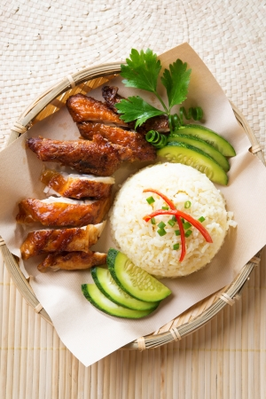 asian style: Asian chicken rice. Singapore style Hainan chicken rice close-up. Asian food.