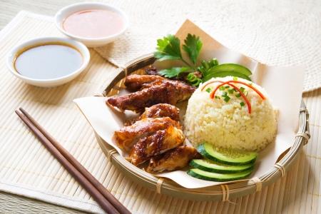 arroz: Hainan arroz con pollo close-up. Comida asiática.