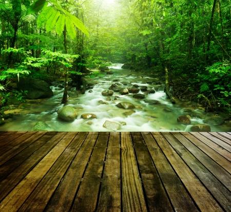 Houten platform en tropische bergbeek met zonnestraal in een ochtend.