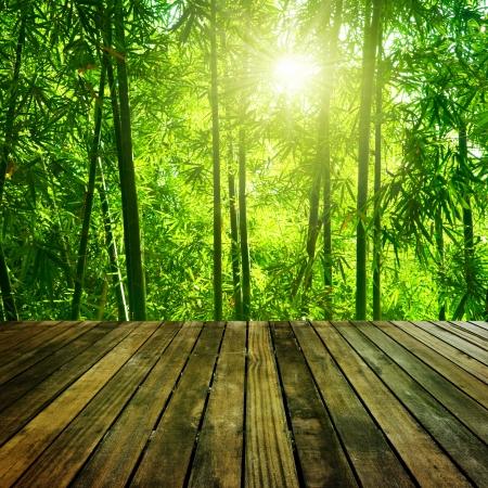 Houten platform en Aziatische bamboe bos met de ochtend zon.