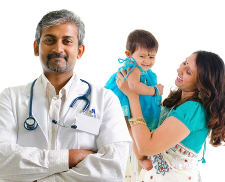 healthcare workers: Smiling Indian medical doctor and patient family. Health care concept. Isolated on white background. Stock Photo