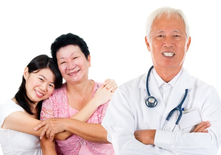 pap smear: Smiling friendly Asian senior medical doctor and patient family. Woman health care concept. Isolated on white background.
