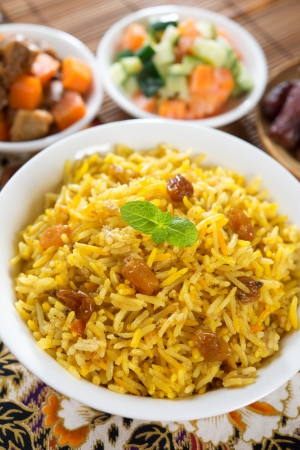 arabic: Arab rice, Ramadan food in middle east usually served with tandoor lamb and Arab salad. Stock Photo