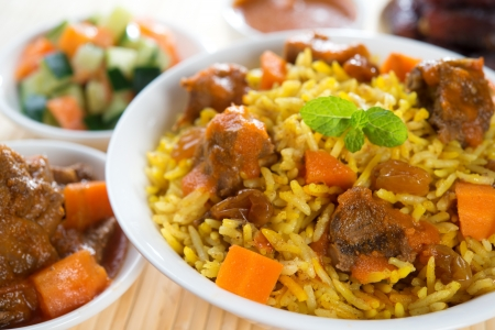 arabic food: Arabic rice, Ramadan food in middle east usually served with tandoor lamb. Middle eastern food.
