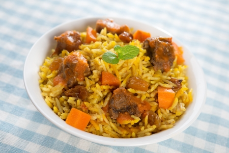 beef curry: Arab food. Mutton With Rice. Middle eastern cuisine.