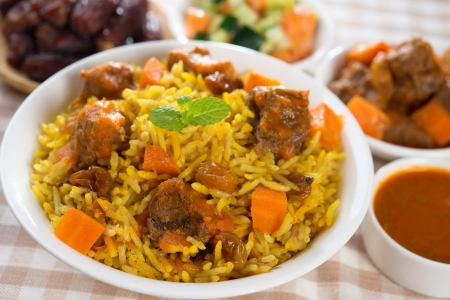 beef curry: Arab rice, Ramadan food in middle eastern, served with tandoor mutton and arab salad.