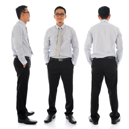 front side: Full body young Asian businessman in different angle, front, side and rear view. Standing isolated on white background