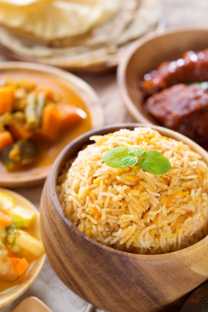 biryani: Biryani rice or pilaf rice with curry, fresh cooked basmati rice with spices, delicious Indian food.