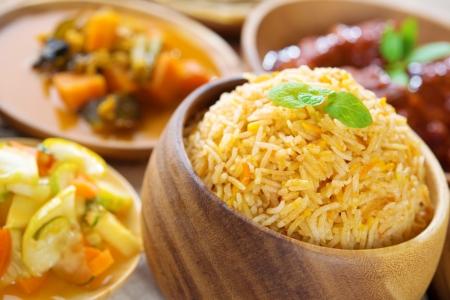 Biryani rice or briyani rice, fresh cooked basmati rice, delicious indian cuisine. photo