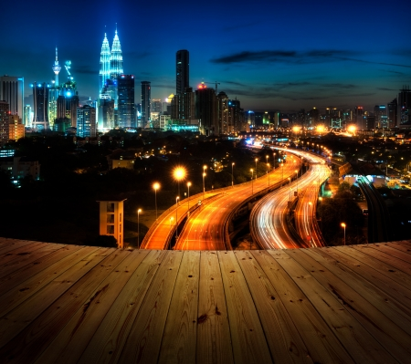 Wood textured backgrounds in a room balcony view. Kuala Lumpur is the capital city of Malaysia. photo