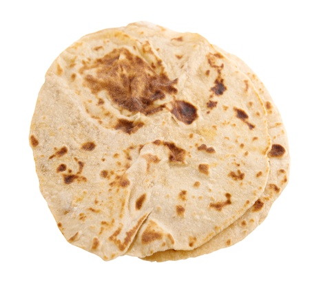 Chapatti roti isolated on white background. photo