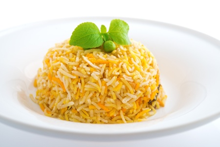 biryani: Indian plain biryani rice on plate. Stock Photo