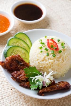 Singapur Hainan arroz con pollo close-up. Comida asiática. Foto de archivo - 20891488