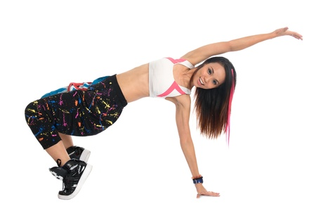 breakdancer: Full body cool looking girl dances jazz modern dance isolated on white background. Asian youth culture.