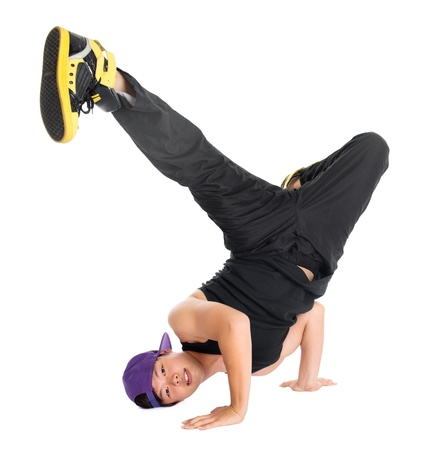 breakdancer: Full body cool looking Asian teen dance hip hop isolated on white background. Asian youth culture.