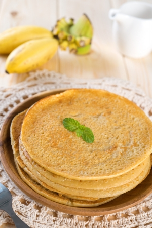 homemade style: Banana pancakes. Asian style homemade breakfast. Stock Photo